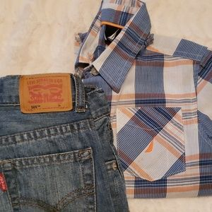 3t Boy bundle nautica button up & Levi's 505
